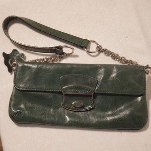 Green leather clutch by Giani Bernini